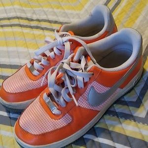 Orange and white nike